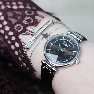 Colours by Kate Armbanduhr mit einem schwarzen Lederband
