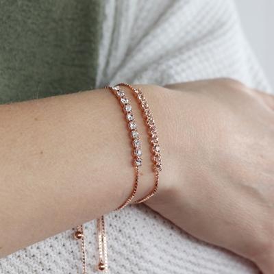 Zilveren armband rose Swarovski Crystal white