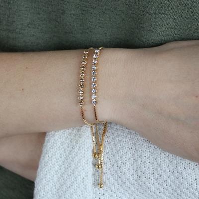 Zilveren armband gold Swarovski Crystal white