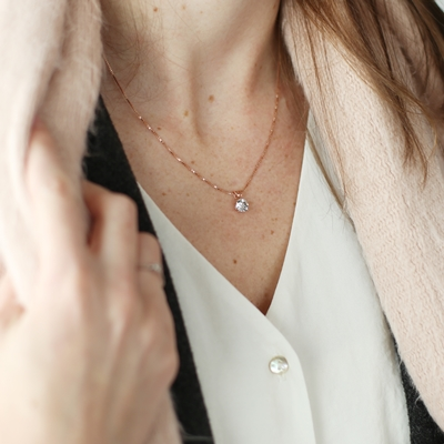 Zilveren ketting rose Swarovski Crystal white