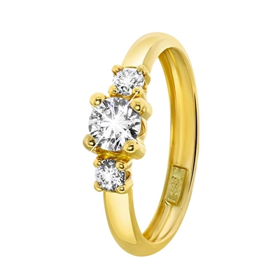 Gelbgoldener Ring mit Zirkonia