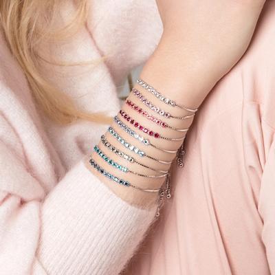 Silber-Armband mit hellrosa Swarovski-Kristall