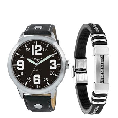 Stalen set armband rubber & regal horloge__1050035__0