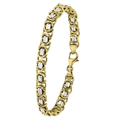 14 Karaat 2-tone armband koningsschakel