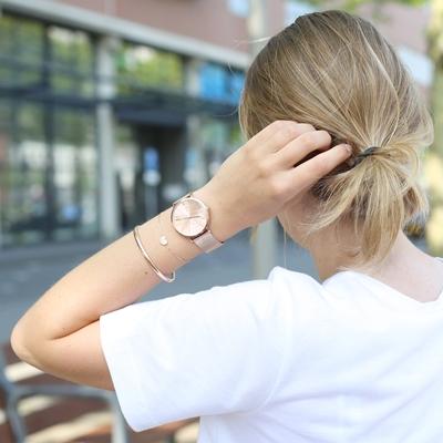 Zilveren armband roseplated hart