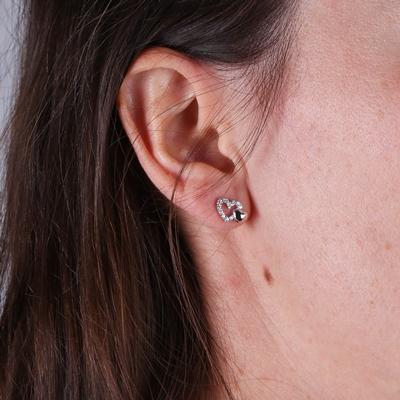 Silberne Ohrringe Herz Zirkonia