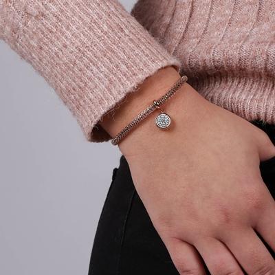 Armband aus rotvergoldetem Edelstahl/Mesh mit Kristall__1034121__1