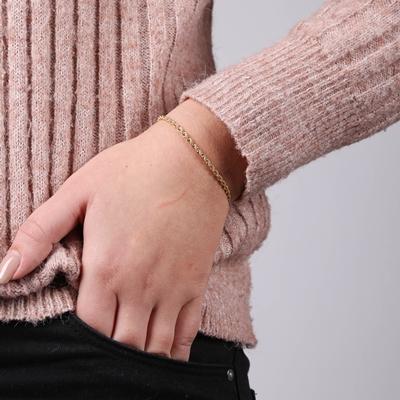 14 Karaat geelgouden armband koord