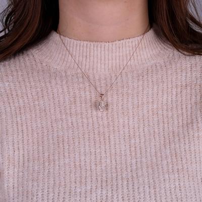 Zilveren ketting&hanger rose Swarovski Crystal