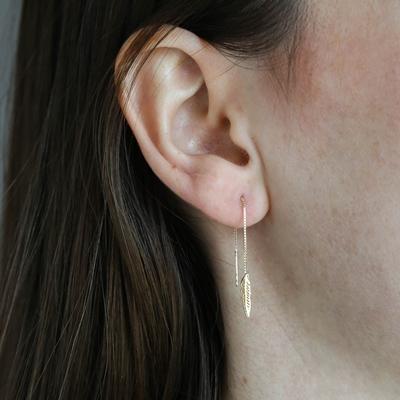 9 karaat oorbellen blad pull thru