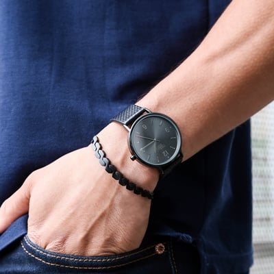 Urban Story Armbanduhr mit schwarzem Lederband