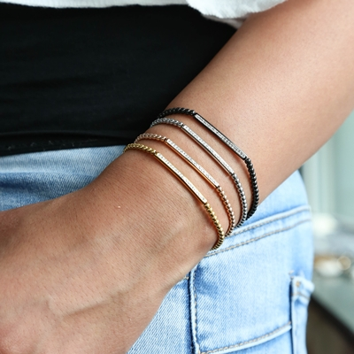 Stalen armband black bol/bar wit kristal