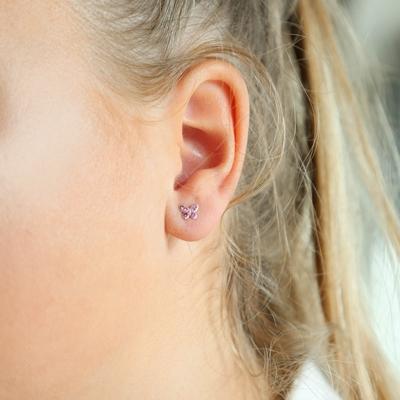 Kinderohrringe, 925 Silber, Schmetterling mit rosa Kristall