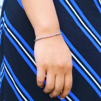 Stalen armband bol/bar roze kristal
