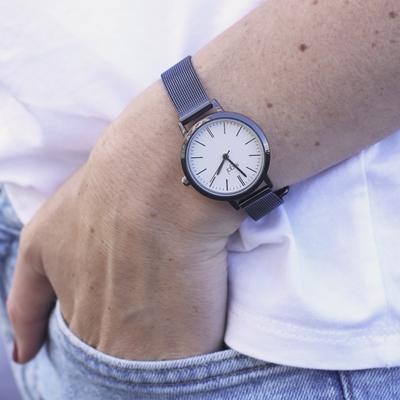Regal mesh horloge met zwartkleurige band