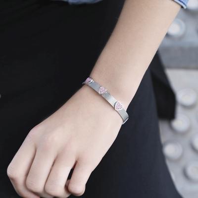 Kinderarmband mit Herz aus Stahl mit hellrosa Kristall__1035697__1