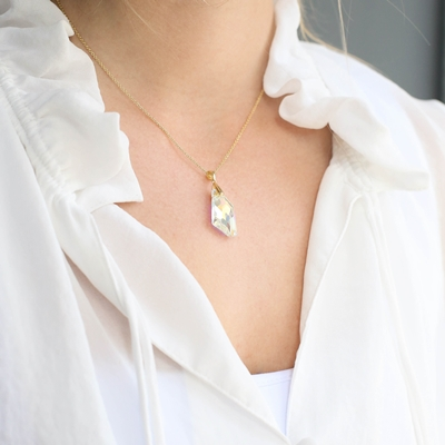 Zilveren ketting&hanger gold Swarovski kristal AB