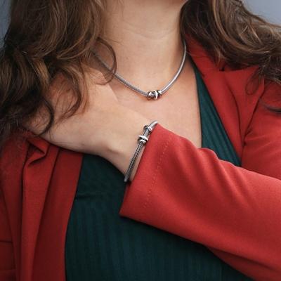 Stalen ketting & armband 3ringen kristal