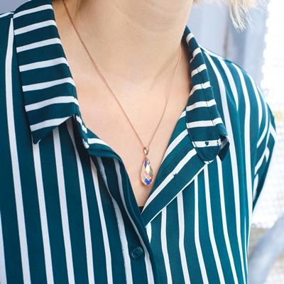 Zilveren ketting&hanger rose Swarovski kristal AB