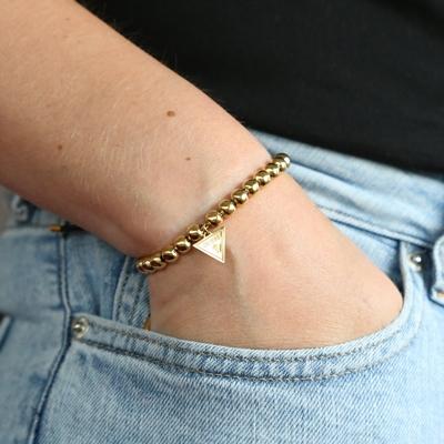 Guess Armband aus Edelstahl, Kordeloptik, vergoldet, Dreieck