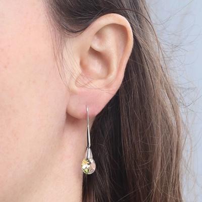 Zilveren oorbellen Swarovski kristal AB