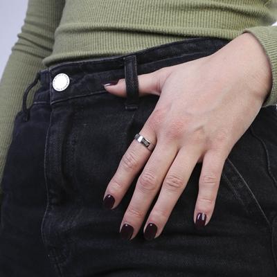 Zilveren ring vingerafdruk & gravering