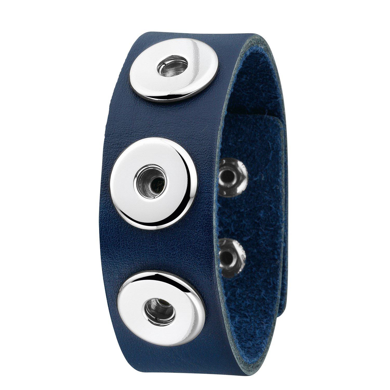 Stalen chunks armband donkerblauw