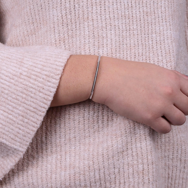 14 Karaat witgouden armband met diamant 0,16 ct
