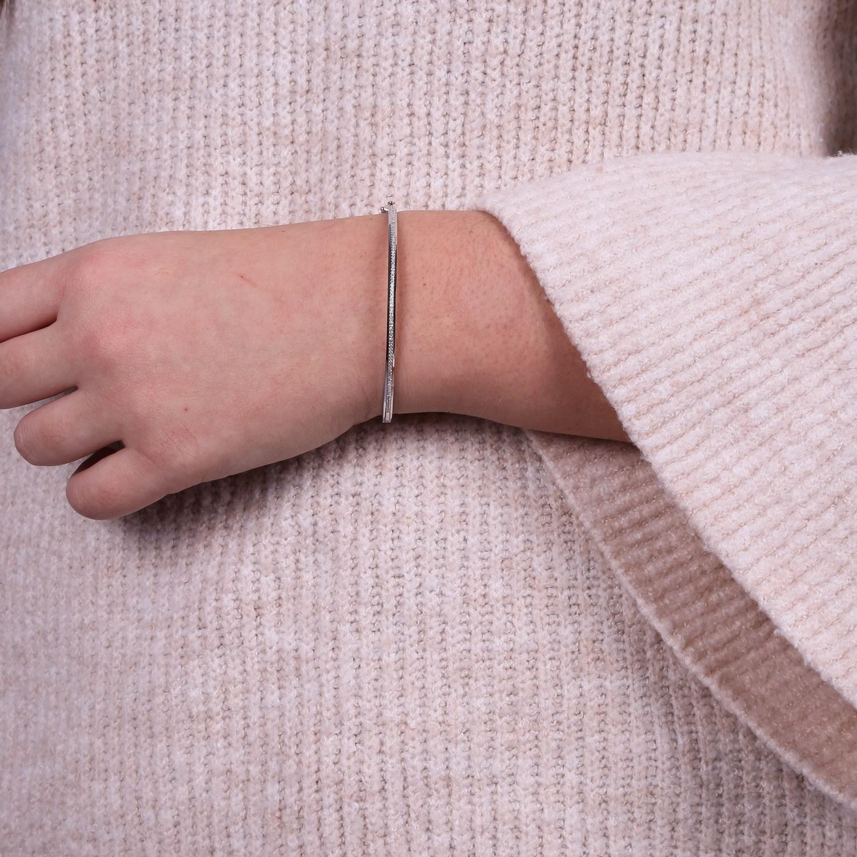 14 Karaat witgouden armband met diamant 0,22ct