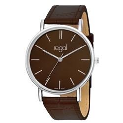Regal-Uhr Slimline mit braunem Lederarmband R16280-11__1013285__0__thumb