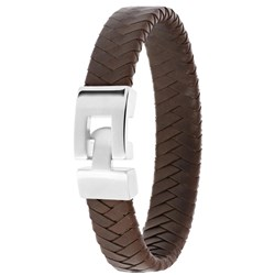 Stalen armband met donker bruin leer__1056693__0__thumb