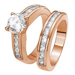 Rotvergoldeter, 2-teiliger Ring mit Zirkonia von Eve__1020076__0__thumb