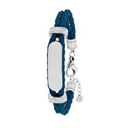 Stalen plaatarmband leer jeans blue met kristal__1036151__0__thumb