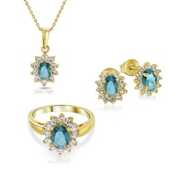 Vergoldete Kette und Charms mit jeansblauem Zirkonia__1035393__1__thumb