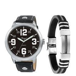 Stalen set armband rubber & regal horloge__1050035__0__thumb