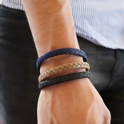 Stahl-Herrenarmband mit geflochtenem Leder in Hellbraun__1043513__1__thumb
