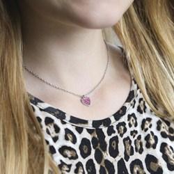 Stalen kinderketting hart met roze kristal__1035676__1__thumb