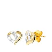Gelbgoldene herzförmige Ohrringe mit Diamant (1000079)