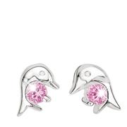 Silberne Kinderohrringe Delphin mit rosafarbenem Zirkonia (1011093)