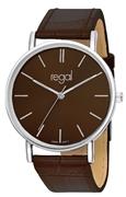 Regal-Uhr Slimline mit braunem Lederarmband R16280-11 (1013285)