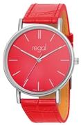 Regal-Uhr Slimline mit rotem Lederband R16280-16 (1013298)