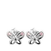 Silberne Kinderohrringe Schmetterling rosa mit Zirkonia (1017912)