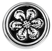 Stalen chunk bloem zwart enamel (1018366)