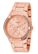 Regal-Uhr Elegant mit rotgoldenem Band R1328R-032 (1019338)
