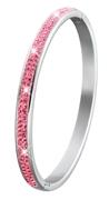 Stalen kinderarmband bangle met roze kristal (1019516)