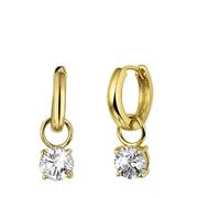 Vergoldete Ohrringe mit Zirkonia-Anhänger (1022613)