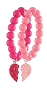 Byoux armbanden fuchsia/roze, broken heart (1024699)