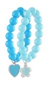 Byoux armbanden blauw, hart/bloem (1024702)