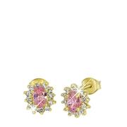 Vergoldete Ohrringe rosa mit Zirkonia (1033765)