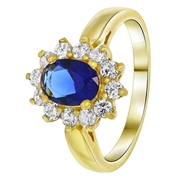Vergoldeter Saphir-Ring mit Zirkonia (1033775)